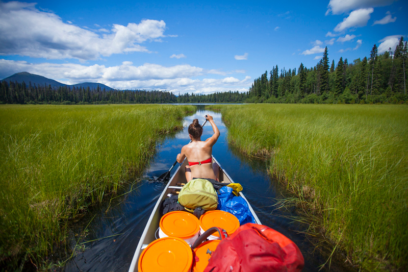A young woman canoes through a narrow channel in Bowron Lake Provincial Park