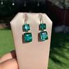 Georgian Double Drop Emerald Paste Earrings 14