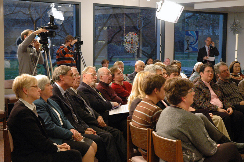 The Chicago Lutheran Center audience during the November 21, 2010 ELCA Online Town Hall Forum with Presiding Bishop Mark S. Hanson.  Here you can see two of the three cameras used for the live Webcast.  The floor manager for the event is Scott Hendrickson, ELCA Director for Marketing, Public Relations and Creative Services.