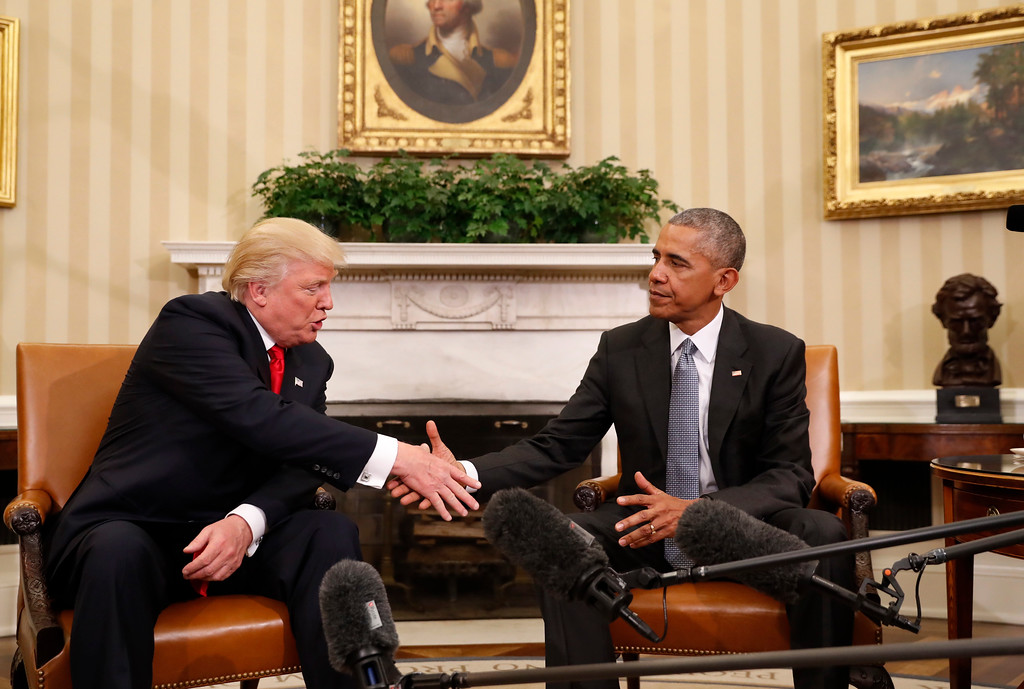 . President Barack Obama shakes hands with President-elect Donald Trump in the Oval Office of the White House in Washington, Thursday, Nov. 10, 2016. (AP Photo/Pablo Martinez Monsivais)
