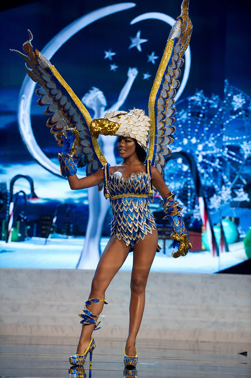 . Miss Curacao Monifa Jansen performs onstage at the 2012 Miss Universe National Costume Show at PH Live in Las Vegas, Nevada December 14, 2012. The 89 Miss Universe contestants will compete for the Diamond Nexus Crown on December 19, 2012. REUTERS/Darren Decker/Miss Universe Organization L.P./Handout