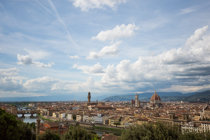 A view of Florence from atop Piazzale Michelangelo (Michelangelo Square). The main buildings of interest (right to left) are the Duomo, Palazzo Vecchio, and the Ponte Vecchio over the Arno.