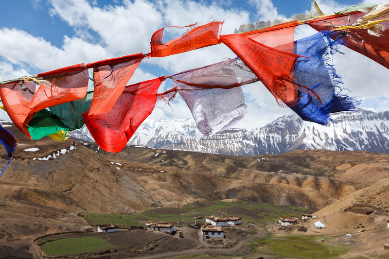Buddhist flags in sky