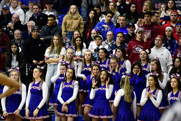 3/8/2019 Mike Orazzi   Staff The Falcon's Nest while cheering on the St. Paul Catholic High School girls during the Class S Semifinal girls basketball game with Trinity Catholic at Newtown High School Friday night in Newtown.