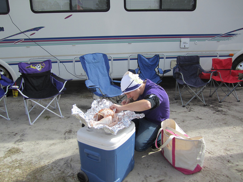 11/5/2011 ECU vs Southern Miss - Chuck preparing to fry the turkey.