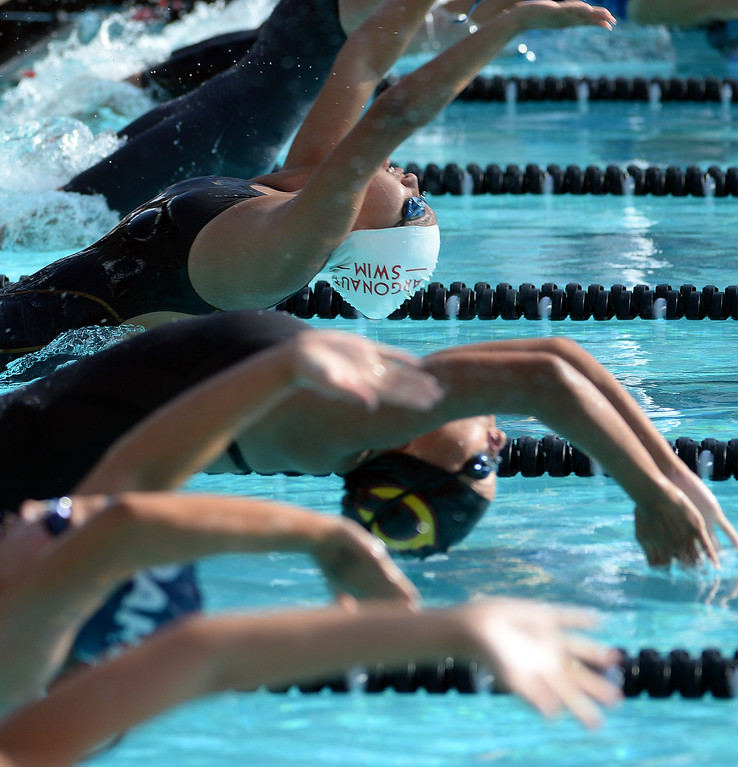 . The start of the 200 yard medley during the Division 4 CIF Southern Section Swimming Championships in the Riverside Aquatics Complex at Riverside City College in Riverside, Calif., on Friday, May 16, 2014.  (Keith Birmingham/Pasadena Star-News)