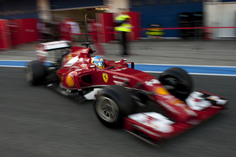 . Ferrari Spanish driver Fernando Alonso leaves the pitlane during the Formula One pre-season test days at Jerez racetrack in Jerez on January 30, 2014. (Jorge Guerrero/AFP/Getty Images)