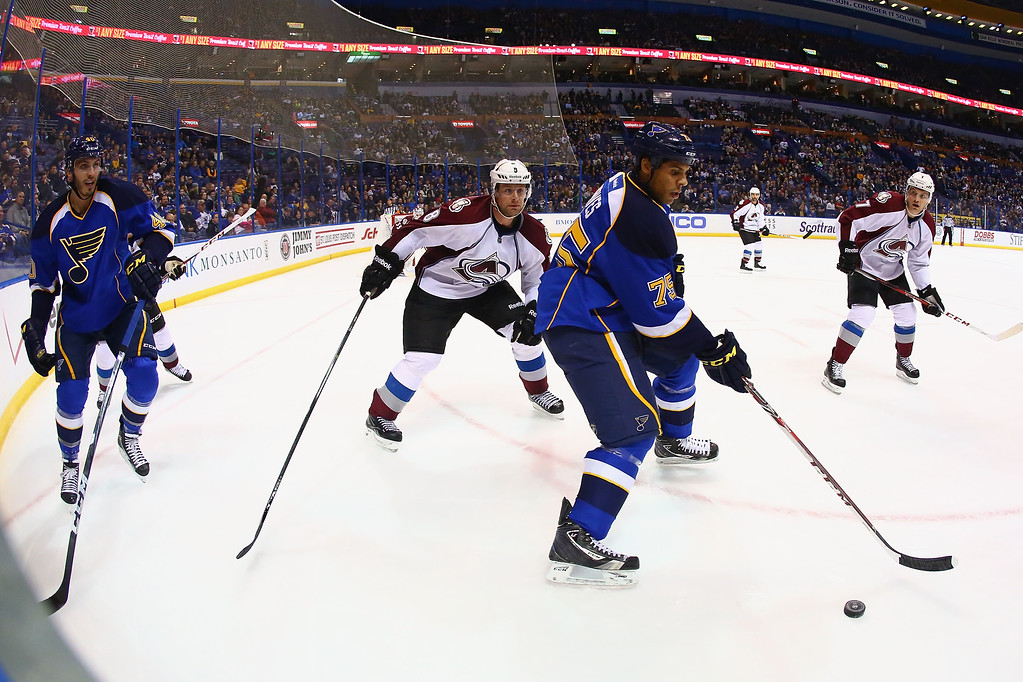 . ST. LOUIS, MO - NOVEMBER 14: Ryan Reaves #75 of the St. Louis Blues looks to pass the puck as Jan Hejda #8 of the Colorado Avalanche defends at the Scottrade Center on November 14, 2013 in St. Louis, Missouri.  The Blues beat the Avalanche 7-3.  (Photo by Dilip Vishwanat/Getty Images)