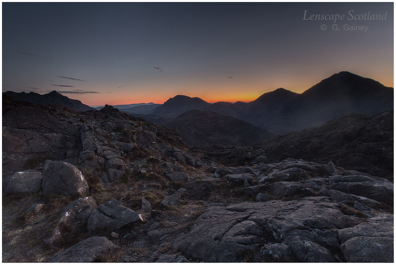 Pre-dawn light over Sgurr nan Gillean, Marsco and Blaven, Isle of Skye