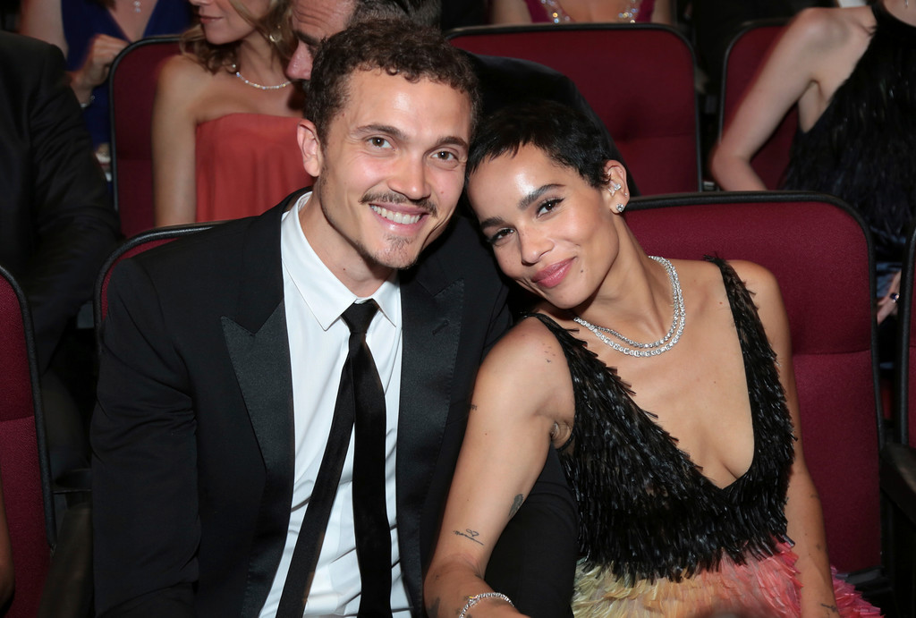 . Karl Glusman, left, and Zoe Kravitz pose in the audience at the 69th Primetime Emmy Awards on Sunday, Sept. 17, 2017, at the Microsoft Theater in Los Angeles. (Photo by Alex Berliner/Invision for the Television Academy/AP Images)