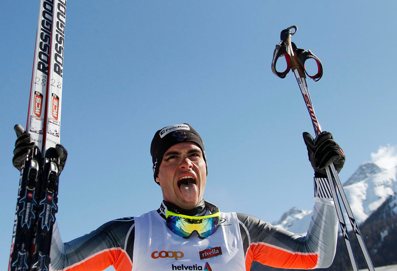 . France\'s Pierre Guedon reacts after winning the Engadin Ski Marathon in S-chanf on March 10, 2013. More than 12,000 skiers participated in the 26.2 mile race between Maloja and S-chanf near the Swiss mountain resort of St. Moritz. REUTERS/Michael Buholzer