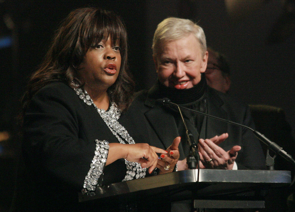 . Chaz Hammelsmith Ebert speaks for her husband film critic Roger Ebert who was honored at the 17th Annual Gotham Awards at Steiner Studios, Tuesday, Nov. 27, 2007 in New York.  (AP Photo/Evan Agostini)