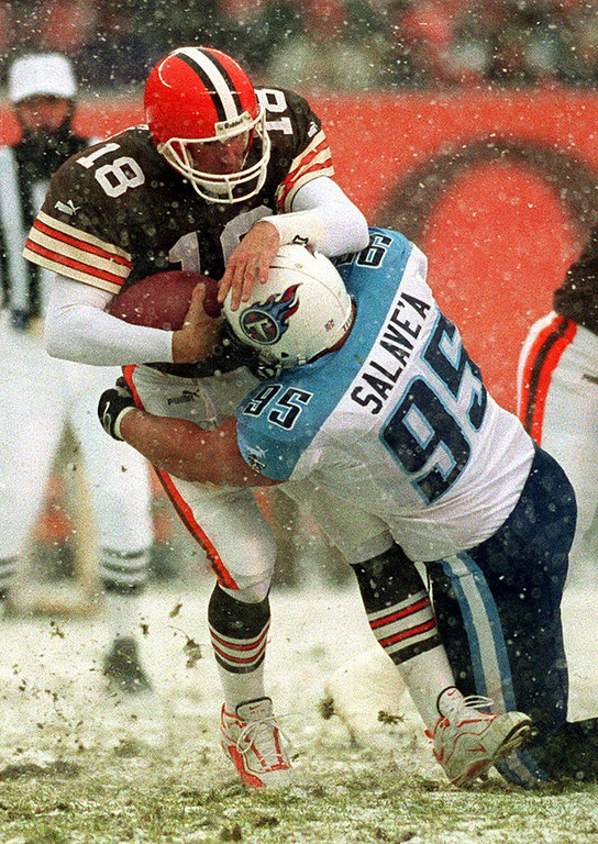 . News-Herald file Cleveland Browns quarterback Doug Pederson is sacked by Titans defensive tackle Joe Salave\'a Sunday during the Browns 24-0 loss to the Titans at Cleveland Browns Stadium.