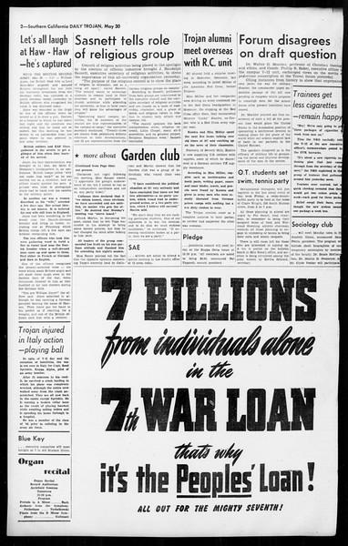 Daily Trojan, Vol. 36, No. 133, May 30, 1945