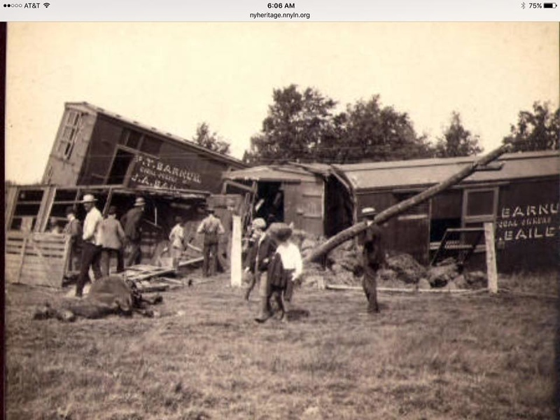 Barnum and Bailey train crash that happened between Norwood and Potsdam in 1889