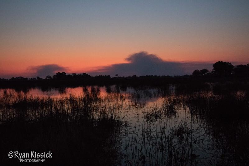 Stunning sunset over Okavango Delta