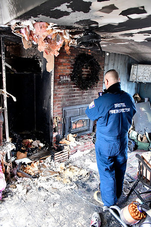 1/10/2020 Mike Orazzi | Staff Acting Bristol Fire Marshal David VanWie while investigating a fire on Clearview Avenue in Bristol. The home was rendered uninhabitable displacing two adults, a baby and four pets.