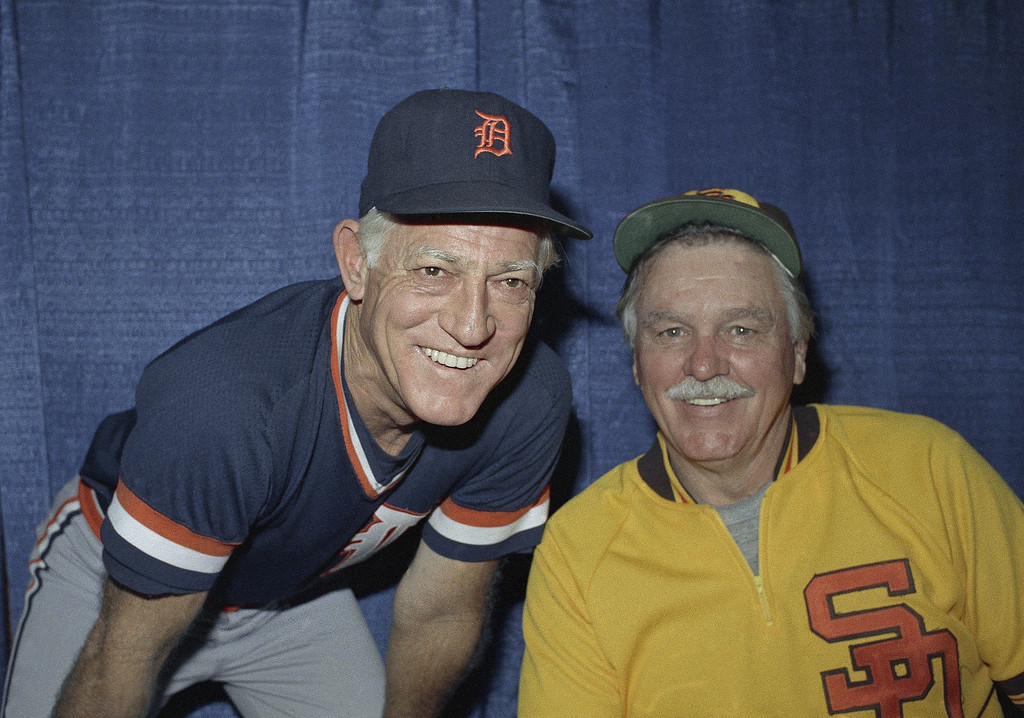 . Detroit Tigers coach Sparky Anderson shown with Dick William, manager of the San Diego Padres, Oct. 8, 1984. (AP Photo)