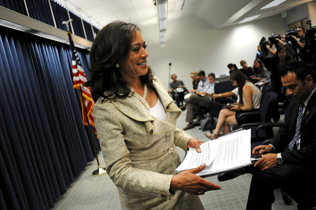 . Attorney General Kamala D. Harris is all smiles as she exits her press conference on the Prop. 8 ruling in Los Angeles, Ca June 26, 2013.(Andy Holzman/Los Angeles Daily News)