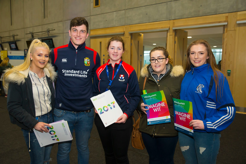 21/01/2017.  Waterford Institute of Technology (WIT) open day at WIT Arena. Pictured are Sorcha and James Cantwell,  Roisin O'Donnell WIT Student Ambassador, Aisling Bryne and Ciara Ryan all from Tipperary,. Picture: Patrick Browne