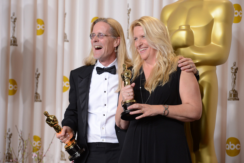 ". Per Hallberg and Karen Baker Landers accept the award for best sound editing for ""Skyfall\"" backstage at the 85th Academy Awards at the Dolby Theatre in Los Angeles, California on Sunday Feb. 24, 2013 ( David Crane, staff photographer)"