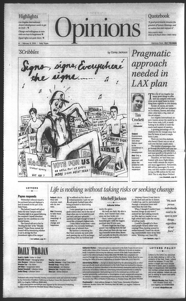 Daily Trojan, Vol. 142, No. 21, February 08, 2001