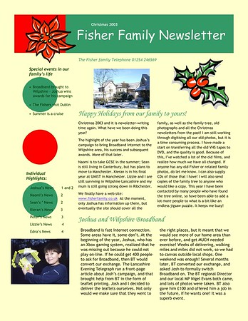 Christmas 2003 Fisher Family Newsletter