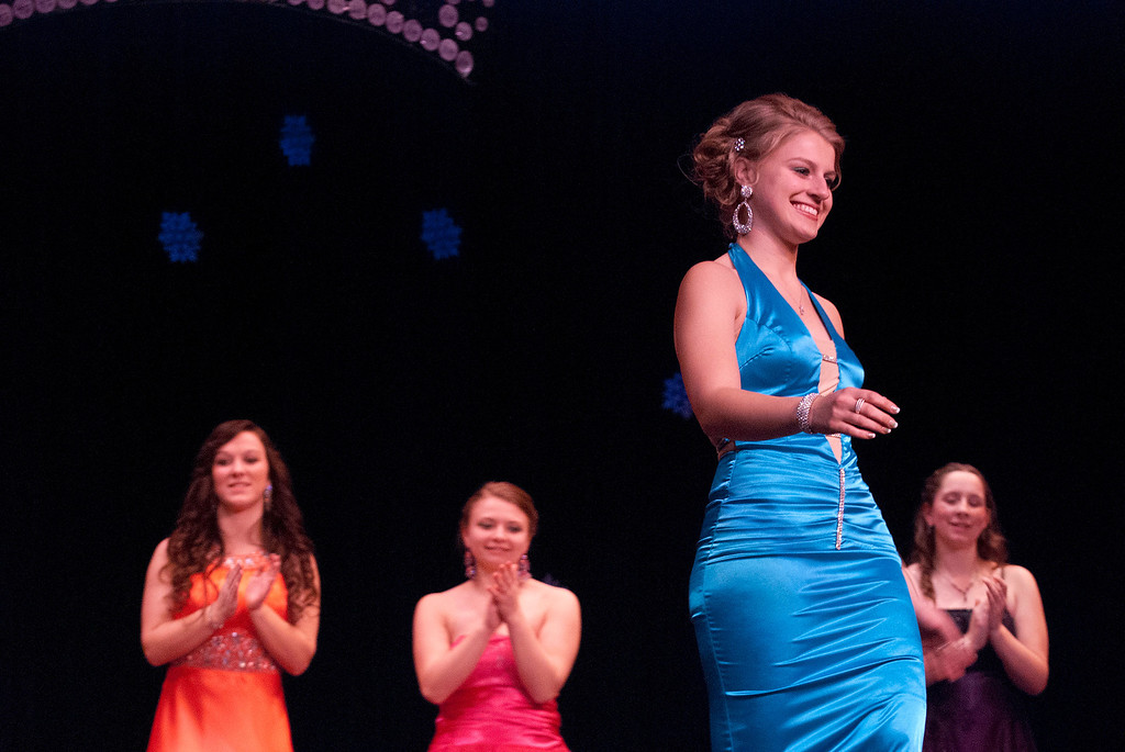 . Kayla Rice/Reformer Jenna Martin walks down the runway during the 2014 Brattleboro Winter Carnival\'s Queen\'s Pageant on Friday night.