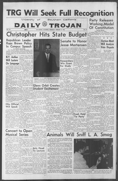 Daily Trojan, Vol. 53, No. 74, February 21, 1962