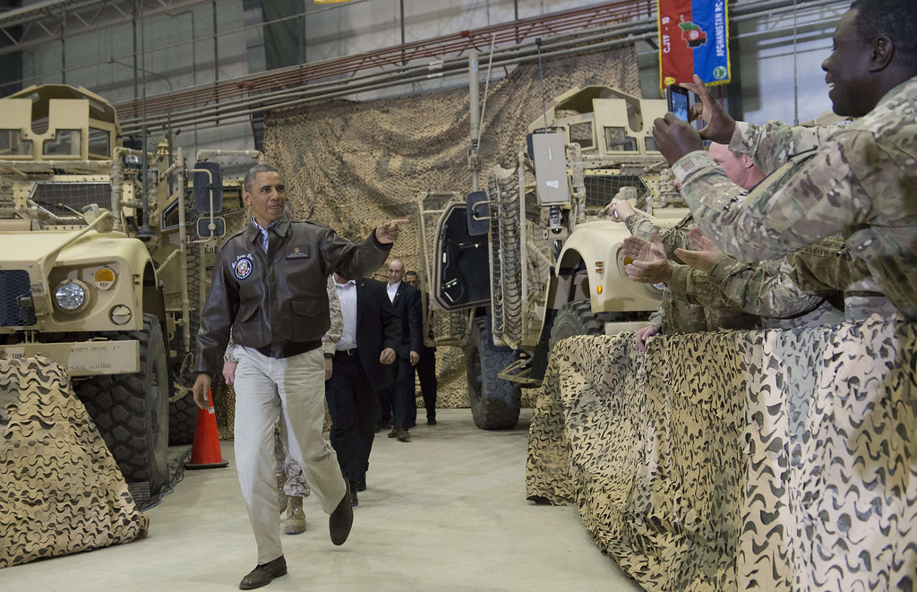 . US President Barack Obama arrives to address troops during a surprise visit with US troops at Bagram Air Field, north of Kabul, in Afghanistan, May 25, 2014, prior to the Memorial Day holiday.    SAUL LOEB/AFP/Getty Images