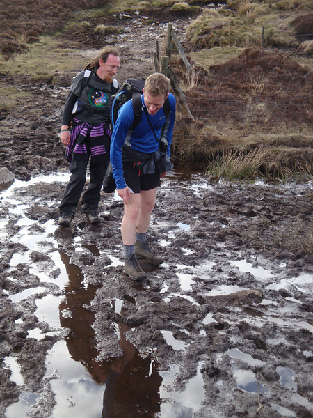 Confusion in the Bog of Doom. Discovering the reason hikers in the main street had mud up to their waists. Those who retuned at all, that is. The route through, however, was far less obvious... Iain had to call on every scrap of his ancestral Scottish affinity to mud and rain to find the way through.