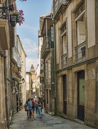 Santiago, Spain Santiago de Compostela, Spain; narrow street.