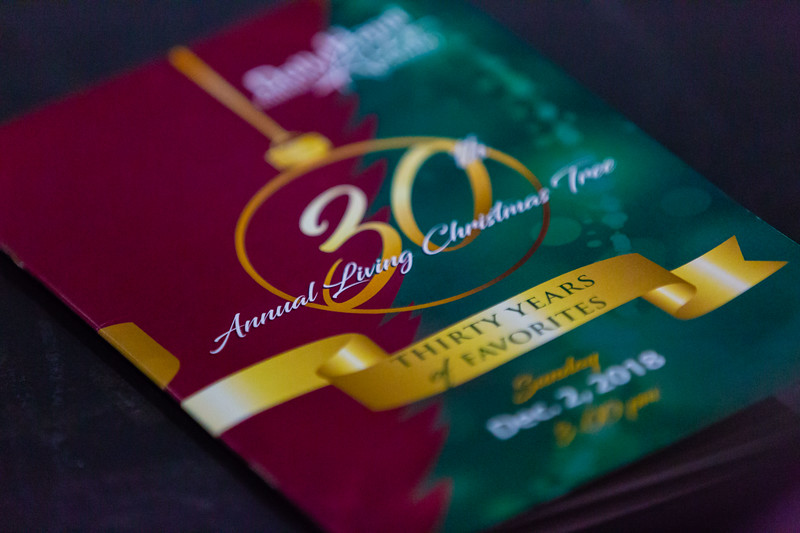 The cover of the program of the final Living Christmas Tree performance at the Dolly Hand Cultural Arts Center at Palm Beach State College in Belle Glade on Sunday, December 2, 2018. [JOSEPH FORZANO/palmbeachpost.com]
