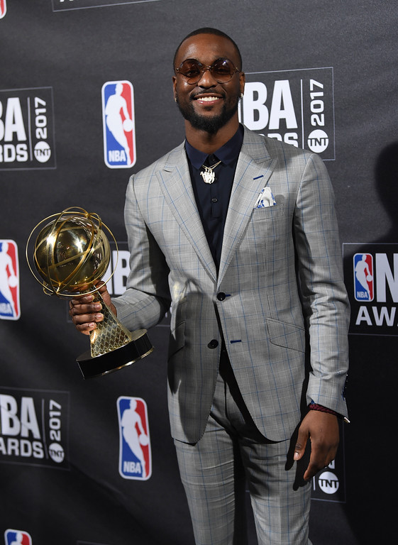 . Kia NBA Sportsmanship Award winner Kemba Walker poses in the press room at the 2017 NBA Awards at Basketball City at Pier 36 on Monday, June 26, 2017, in New York. (Photo by Evan Agostini/Invision/AP)