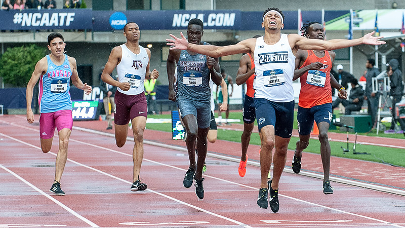 Isaiah Harris crosses the finish line to win the 800 meter run at the NCAA Championships in Eugene, Oregon Friday night.  (Russ Dillingham/Sun Journal)