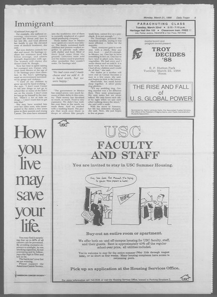 Daily Trojan, Vol. 106, No. 48, March 21, 1988