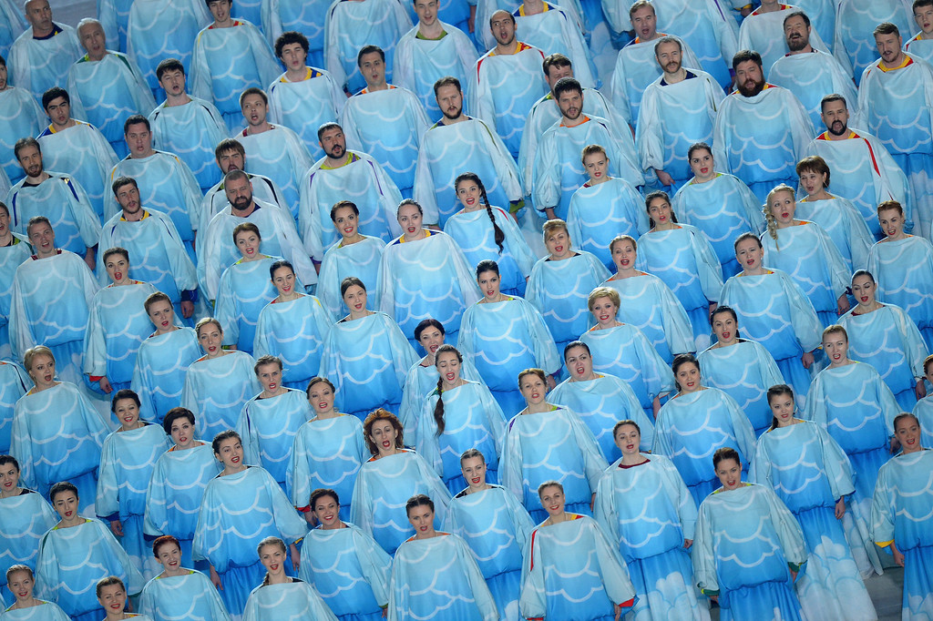 . A choir sings during the Opening Ceremony of the Sochi 2014 Paralympic Winter Games at Fisht Olympic Stadium on March 7, 2014 in Sochi, Russia.  (Photo by Dennis Grombkowski/Getty Images)