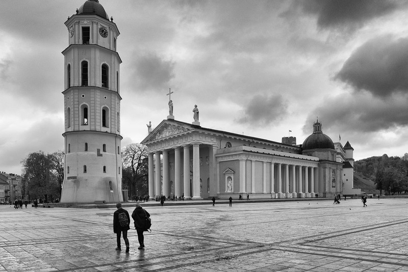Cathedral Square. Old Town Vilnius, Lithuania. November 2017.