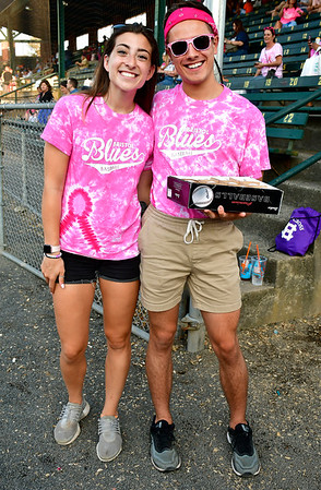 8/1/2019 Mike Orazzi | Staff Bristol Blues' Cynthia Fendt and Logan Zdun during Pink Night at the Bristol Blues at Muzzy Field on Thursday evening.