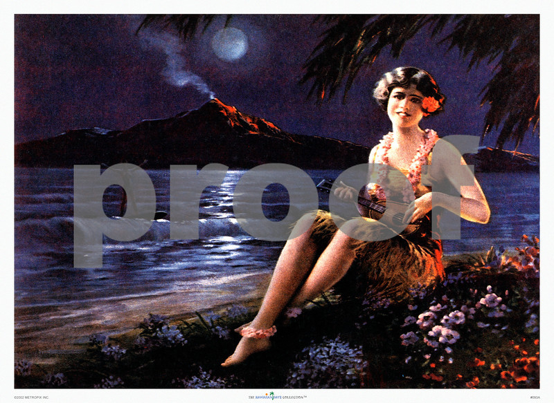 093: Untitled Calendar Illustration. Ca. 1935. How's this for a pinup? A lovely faux Hawaiian maiden plays her ukulele in the moonlight while the volcano betrays its dormant state with a faint moonlit smoke feather. Yes, everything's calm on the home front, although the ghostly image of a surfer seems to stretch his arms out in a gesture of warning. For tranquility's sake, let's assume that it's more in victory. Indeed, with a surf this calm it's a wonder he's standing up. Now you know why we love Hawaiiana: it's so disarmingly inconsequent. (PROOF watermark will not appear on your print)