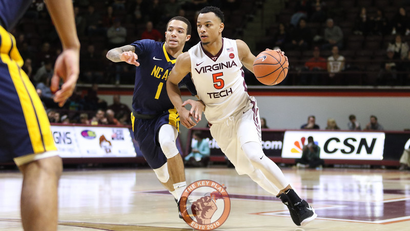 Justin Robinson dribbles the ball around an NC A&T defender in the first half. (Mark Umansky/TheKeyPlay.com)