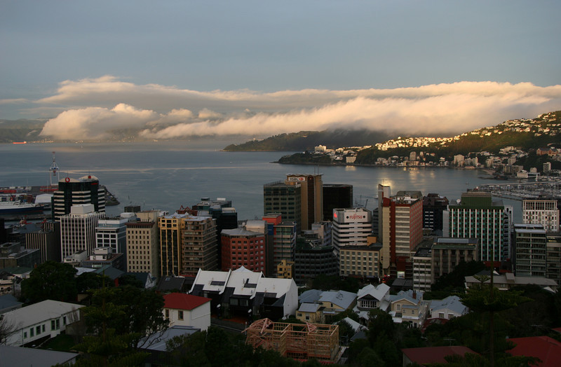 Low cloud creeps into Wellington harbour on a light southerly change - Saturday evening, 14 August 2010.