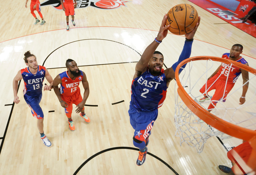 . East Team\'s Kyrie Irving of the Cleveland Cavaliers goes up for a shot during the first half of the NBA All-Star basketball game Sunday, Feb. 17, 2013, in Houston. (AP Photo/Eric Gay)