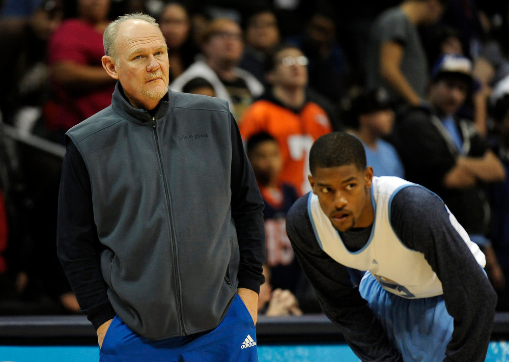 . Denver Nuggets head coach George Karl is watching scrimmage by Cory Higgins at Pepsi Center in Denver, Colorado, Friday, December 16, 2011. Hyoung Chang, The Denver Post