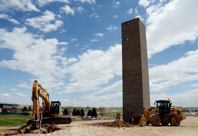. The new Viewing Tower in Dove Valley in Centennial, Colorado, April 30,  2014.. The Denver Broncos Video department will use the 78-foot high tower.  (Photo by Hyoung Chang/The Denver Post)