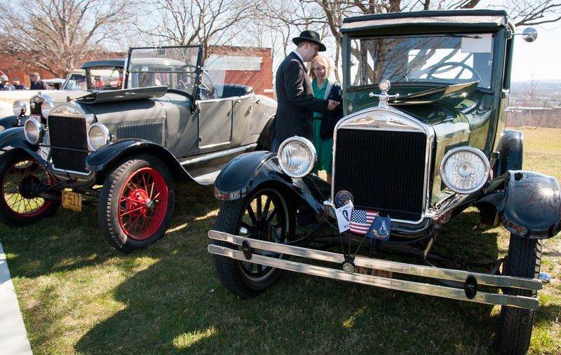 04/21/18  Wesley Bunnell | Staff  Brandon Barriello and Rebecca Nowak take an up close look at a 1927 Rolls Royce Phantom I owned by Ernest Smith of Simsbury at the Klingberg Family Center. The Klingberg Vintage Motorcar Series held their April event on Saturday with a focus on the Ford Model A.