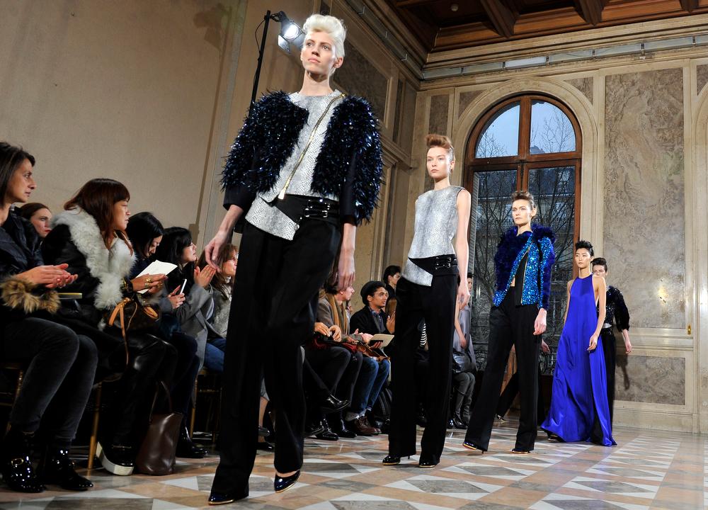 . Models wear creations for Bouchra Jarrar\'s Spring-Summer 2014 Haute Couture fashion collection presented in Paris, Tuesday, Jan.21, 2014. (AP Photo/Zacharie Scheurer)