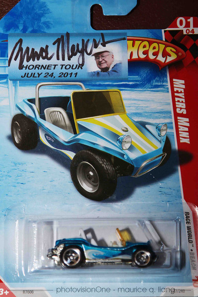 Attendees were given a souvenir Hot Wheels Manx with commemorative sticker for Bruce to autograph.