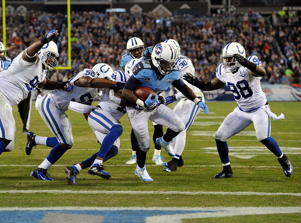 . NASHVILLE, TN - NOVEMBER 14:  Chris Johnson #28 of the Tennessee Titans rushes for a touchdown against the Indianapolis Colts at LP Field on November 14, 2013 in Nashville, Tennessee.  (Photo by Frederick Breedon/Getty Images)