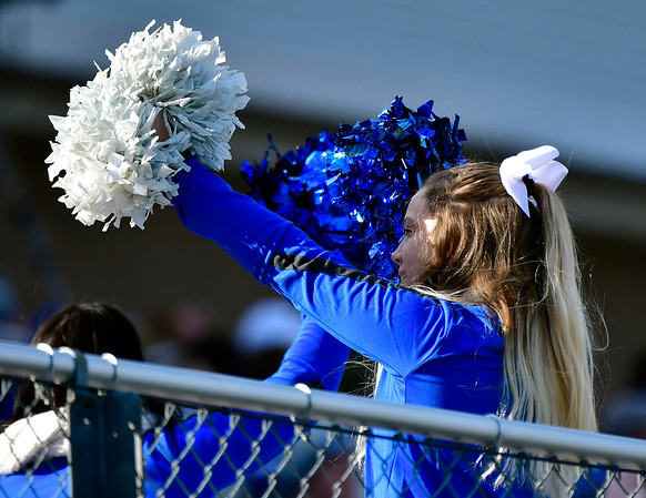 11/17/2018 Mike Orazzi | Staff A CCSU cheerleader at Arute Field in New Britain Saturday afternoon for football with Duquesne.
